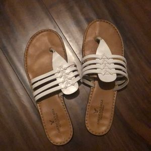American Eagle White leather sandals